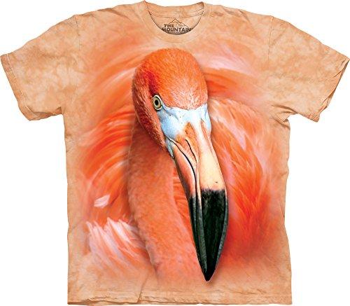 The Mountain Men's Big Face Flamingo T-Shirt, Pink, - Face Face Small Big