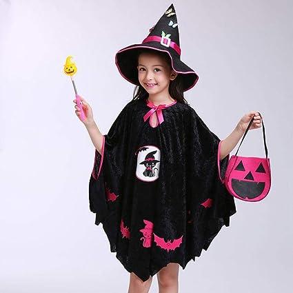 Vestiti Di Halloween Bambina Carnevale Bimba Costumi Carnevale Bambini  Bambine Halloween Costume Vestito Partito Mantello + Cappello Vestito +  Zucca Bag ... 309787fa867b