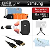 16GB Accessories Kit For Samsung HMX-W200 Waterproof HD Pocket Camcorder Includes 16GB High Speed Micro SD Memory Card + FLOAT STRAP + Mini HDMI Cable + USB 2.0 Card Reader + Case + Mini TableTop Tripod + More