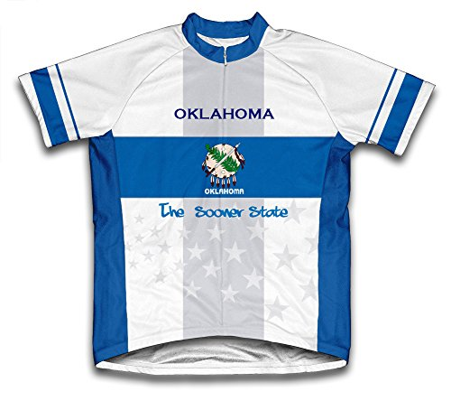 (ScudoPro Oklahoma Flag Short Sleeve Cycling Jersey for Men - Size XL)