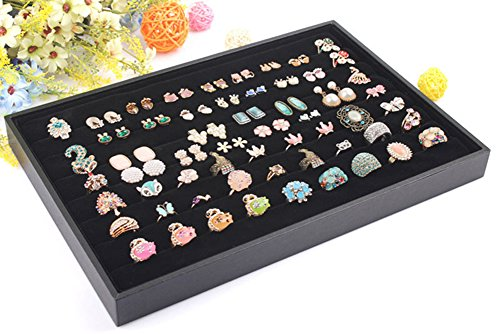 Top Drawer Jewelry Tray (Wuligirl Velvet Ring Trays Jewelry Showcase Ring Insert Organizer Trays Stackable, Black (Ring Tray))