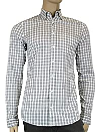 Mens Plaid Cotton Slim Dress Shirt 307653