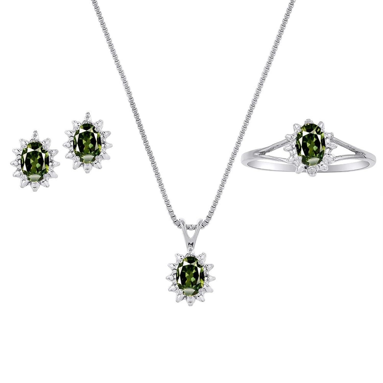本物の天然グリーンサファイア&ダイヤモンドペンダント、イヤリング&リングセットinスターリングシルバー。925、チェーンとギフトボックス B07915GJN5