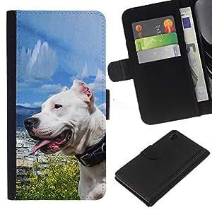 Sony Xperia Z4 / Sony Xperia Z4V / E6508 , la tarjeta de Crédito Slots PU Funda de cuero Monedero caso cubierta de piel ( Sunny Dog Sea Ocean Pit-Bull Terrier Pet)