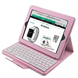 ipad 2 case keyboard - Apple iPad 2/3/4 Keyboard Case,Eoso Folding Leather Folio Cover with Removable Bluetooth Keyboard for iPad 2/3/4 Tablet(Pink)