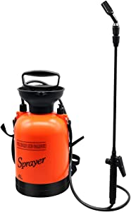 1 Gallon Pump Pressure Sprayer Portable Garden Sprayer with Shoulder Strap and Long Reach Wand for Fertilizers,Mild Cleaning Solutions and Spraying,Orange