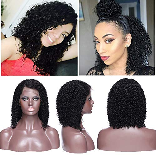 Curly Bob Lace Front Wig Brazilian Human Hair with Baby Hair Shoulder Length Deep Wavy for Black Women Side Part Pre Plucked Slightly Bleached Knots- 12 inch #1B]()