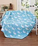 The Lakeside Collection Jumbo Quilted Whales Throw in a Tote offers