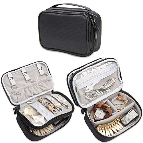 Estuche de viaje para joyas Teamoy, organizador de accesorios y joyas para collares, pendientes, anillos, relojes y más, espacioso, compacto y portátil, negro
