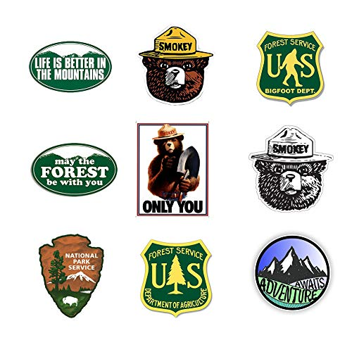 GTOTd Forest Service Stickers Decals Vinyls Resist Bumper Stickers for Car Waterbottle Gift Teens Collection (9 Pcs) (Bears Bumper Sticker)