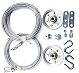 Cable and Pulley Replacement Kit - Two 3 inch Heavy Duty Sheaves, Two Pairs of Galvanized Aircraft Cables - 3/32 and 1/8 inch diameter. 10 Fasteners for Overhead Sectional Garage Doors. DIY and Save