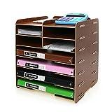 Menu Life Decorative Wooden File Cabinet Document Magazine Folder Holder A4 A5 Size Literature Sorter, Letter Tray 8 Slots (Teak)