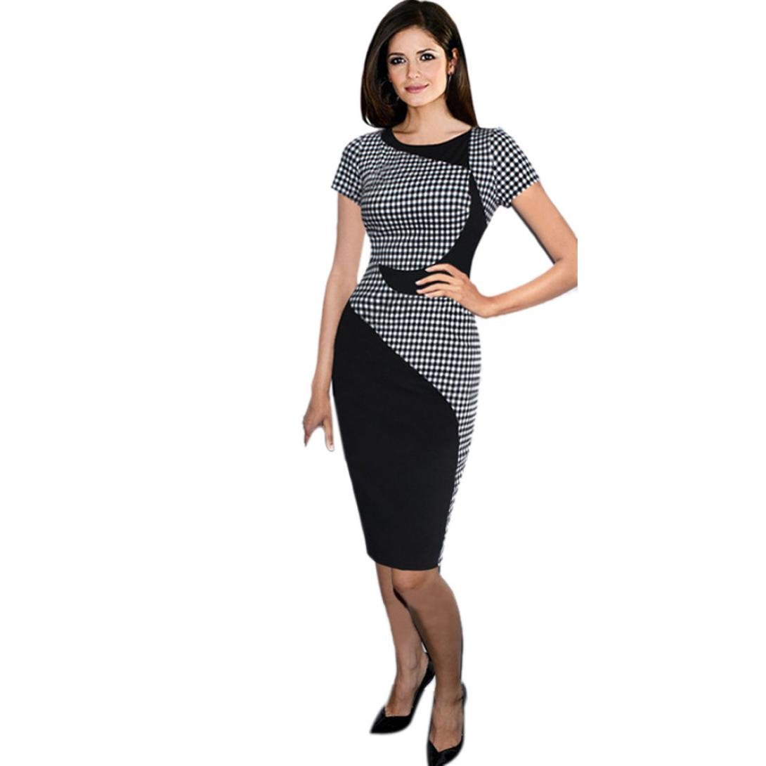 94153aa558ff AmyDong Hot Sale! Ladies Dress, Women Sexy Dress Office Bodycon Dresses  Ladies Professional Dress Short Sleeve Bag Hip Skirt at Amazon Women's  Clothing ...