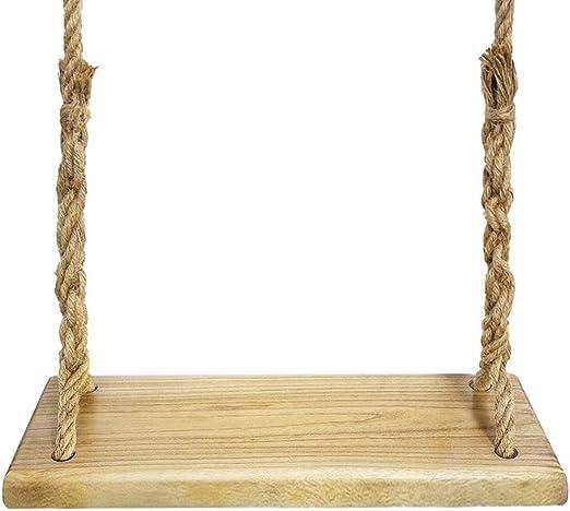 Aoneky Columpio de Madera para Adultos Niños - Columpio Colgante Infantil para Jardín Exterior, Columpio con Cuerda de 3,6M, Asiento de Madera Paulownia 60×20 cm, Carga de 160 kg (Paulonia Cuadrado): Amazon.es: Jardín