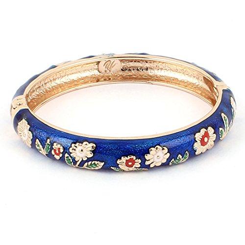 Enamel Hinged Cuff (Lady Women Flower Carved Enamel Hinged Bangle Cuff Bracelet Dark)