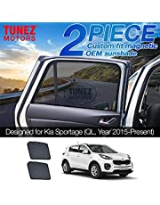 TUNEZ Sunshades - Custom Side Window Sunshades Magnetic Sun Shade Rear Door Side Car (Kia Sportage, QL Year 2015-2020)