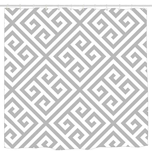 AshasdS Greek Key Pattern Grey White Patternmodern Trendy Elegant Shower Curtain Design Polyester Waterproof Fabric with 12 Rust Proof Hooks,66 X 72 Inches