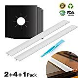 Kitchen Silicone Stove Counter Gap Cover and Gas Stove Burner Covers HahaBear Reusable Easy Clean Liners Non-Stick Heat-resistant 4 Pack Stovetop Burner Liners+2 Pack Gap Cover+Free scraper