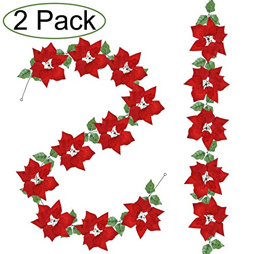 2 Pack Christmas Red Poinsettia Garland Christmas Decorations Christmas Garland with Holly Leaves and Red Berries for Christmas Party Holiday Front Door Wreath Decor