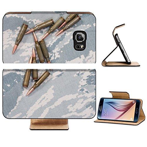 Liili Premium Samsung Galaxy S6 Flip Pu Leather Wallet Case IMAGE ID: 19956700 ammo on camouflage background