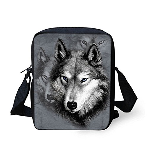 IDEA Cute Womens Wolf HUGS Gray Small Blue Clutch Messenger Crossbody Printed Bag Totes Kitten Handbag fda55xwq