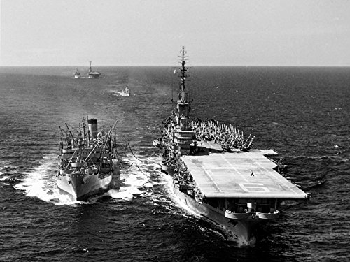 Home Comforts Laminated Poster The U.S. Navy Fleet Oiler USS Ashtabula (AO-51) refuels The Aircraft Carrier USS Essex (CVA-9) in th Vivid Imagery Poster Print 24 x 36