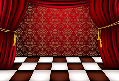 Baocicco Luxury Stage Red Drapes Curtain White and Red Chequered Floor Backdrop 7x5ft Photography Background Circus Classical Wedding Ceremony Theatre Drama Velvet Opera Act -
