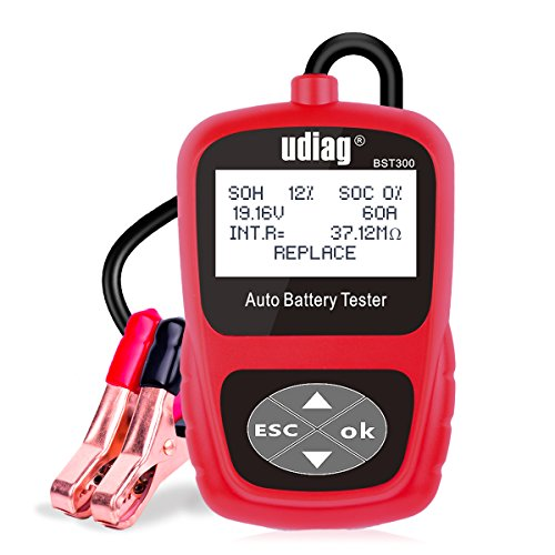 Battery Tester, Udiag BST300 Digital Professional Car Battery Analyzer Automotive Battery Load Tester for 12V Battery of Vehicle and Charging System Red