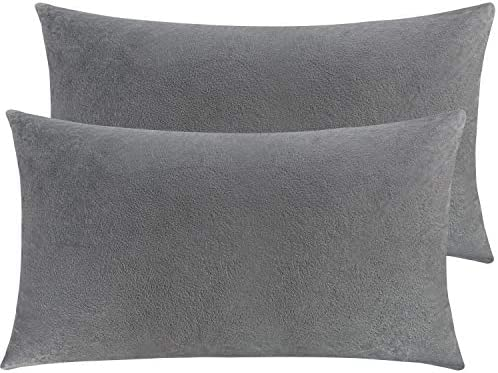NTBAY Zippered Velvet King Pillowcases, 2 Pack Super Soft and Cozy Luxury Solid Color Pillow Cases, 20 x 36 Inches, Smoke Grey