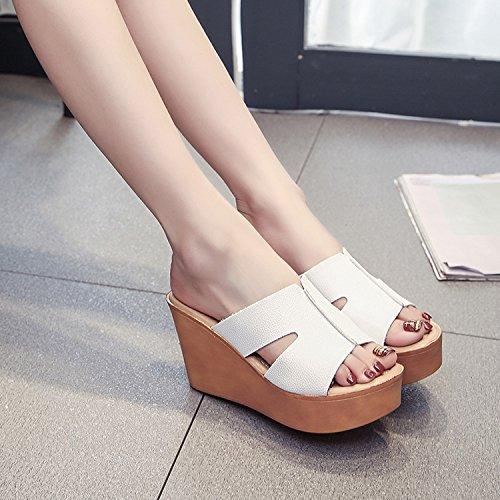 ZPPZZP Ms sandali pantofole estate trascinare pendenza 38EU bianca spessa