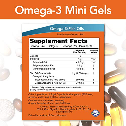 NOW Supplements, Omega-3 Mini Gels, 180 EPA / 120 DHA, Molecularly Distilled, Cardiovascular Support*, 180 Softgels