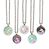 Bling Bling Vintage Pink Unicorn Pendant Necklace Glass Cabochon Pendant Inspired Necklace with Long Bronze Chain Handmade for Gifts 5pcs (Big Unicorn 6)