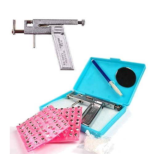 Price comparison product image Wowlife Professional Steel Ear Eyes Lips Nose Navel Body Ring Piercing Gun with 49 Pair Studs Set