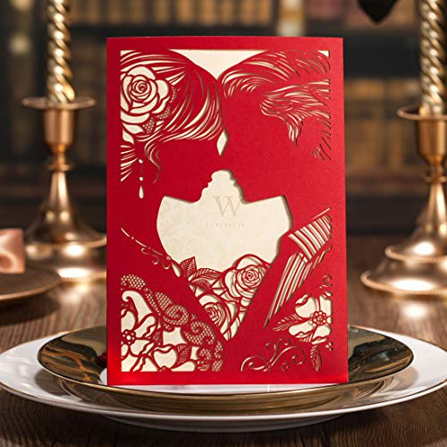 WISHMADE 50 Pieces Red Elegant Laser Cut Wedding Invitations Cards Kit, Bride and Groom Kiss Hollow-Out Engagement Bridal Shower Invites CW020