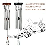 Woodstock Wind Chimes Outdoor - Amazing Grace Wind Chimes With Best Wood And 6 Silver Aluminum Tubes, Unique crystal bell, Perfect Choice For Garden, Bedroom, Patio, Balcony And Indoor Decor(Brown)
