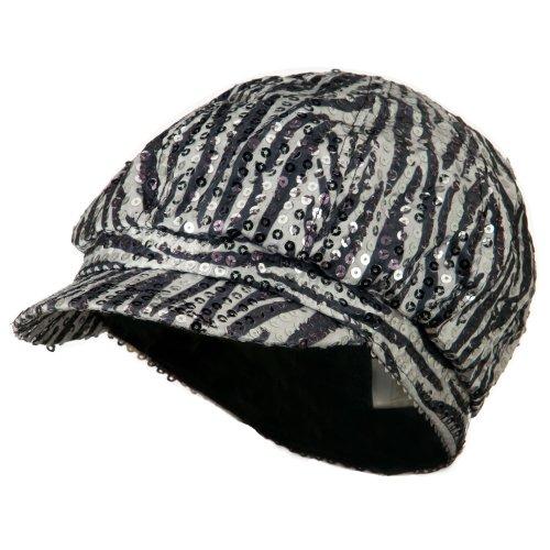 Zebra Sequin Newsboy Cap - Black White M-L (Zebra Sequin)
