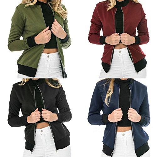 Veste Baseball Manche Bigood Moto Mode Jacket Femme Bleu Blouson Longue Casual Zippée Manteau ff6XzZ