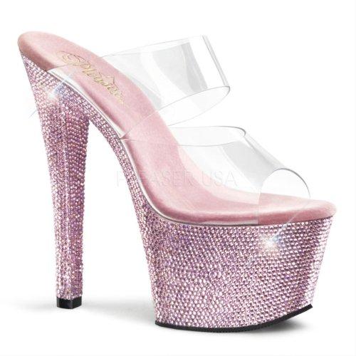 Pleaser - Sandalias mujer - Clear/B.Pink