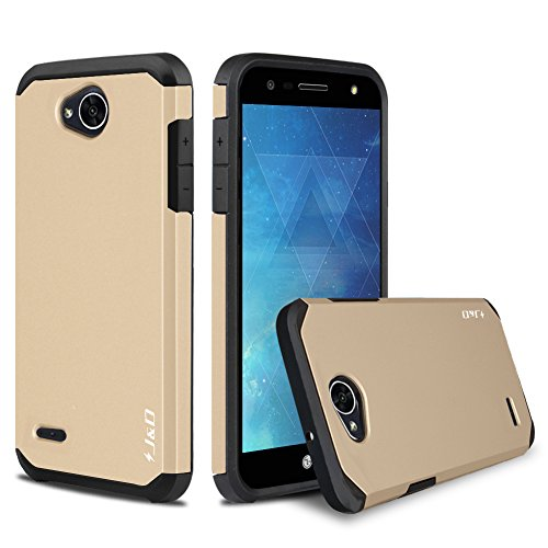 J&D Case Compatible for LG X Charge/LG X Power 2/LG Fiesta 2/LG Fiesta/LG V7 Case, Heavy Duty [Dual Layer] Hybrid Shock Proof Protective Rugged Bumper Case for LG X Charge, LG X Power 2 Case - Gold