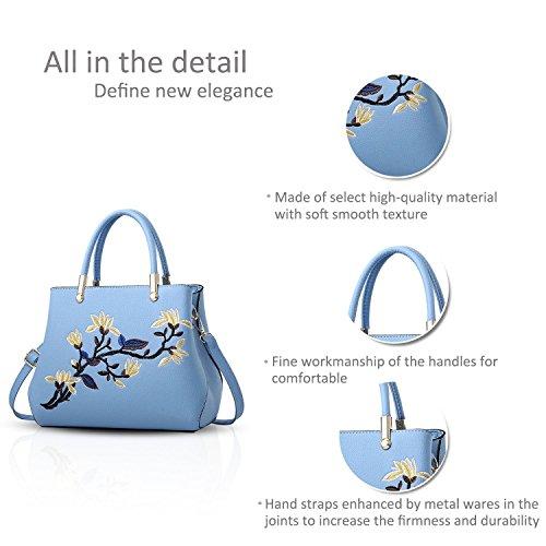 Suave Bags Azul Mujeres De Bolsa Bolso Messenger Ruiren Bordado Multifunción Claro Hombro Portátil gP6q8E