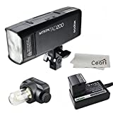 Godox AD200 200Ws 2.4G TTL Speedlite 1/8000s HSS 2900mAh Battery with Interchangeable Bare Bulb and Speedlite Flash Head for Canon Nikon Sony DSLR Camera with MicroFiber Cloth