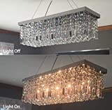 CRYSTOP Rectangle Crystal Chandeliers Dining Room