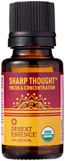 product image for Desert Essence Organic Essential Oil - Sharp Thought - Focus & Concentration - .5 Fl Oz - Freshens Air - Promotes Peace & Comfort - Peppermint & Rosemary Oils - Certified USDA
