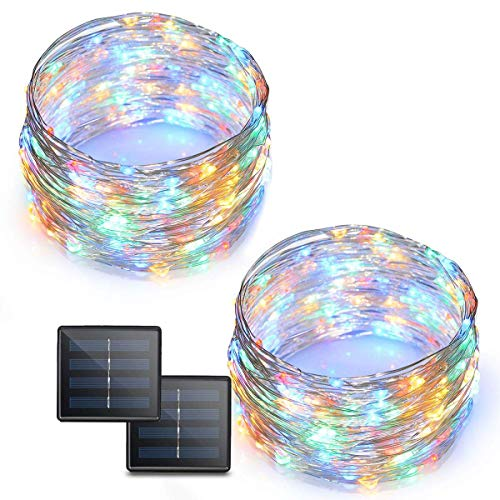 Binval Solar String Lights, 72ft 200Led, Copper Wire Led String Lights Ambiance lighting for Patio, Lawn, Garden, Landscape, Home, Wedding, Christmas Party, Xmas Tree, Waterproof (Multi Color,2-Pack) by Binval