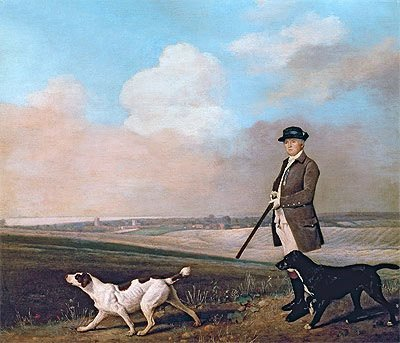 Stubbs (Sir John Nelthorpe, 6th Baronet out Shooting with his Dogs in Barton Field, Lincolnshire, 1776) Canvas Art Print Reproduction (17.2x20.1 in) (44x51 cm)