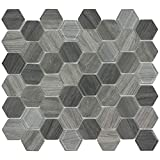 MTO0382 Modern Hexagon Grey Wood Grain Glass Mosaic Tile