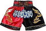 asmanjune Nakarad Kid Muay Thai Boxing Shorts Black & red Size M for 9y-10y