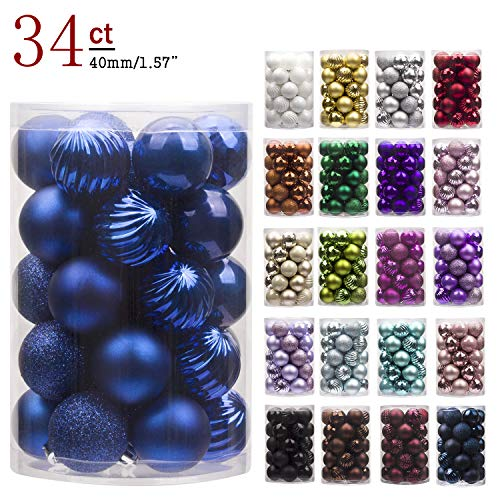 """KI Store 34ct Christmas Ball Ornaments Shatterproof Christmas Decorations Tree Balls Small for Holiday Wedding Party Decoration, Tree Ornaments Hooks Included 1.57"""" (40mm Blue)"""