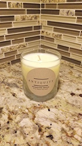 Antiquity Natural Hand Poured Honeysuckle Jasmine Scented Soy Candle In 10 oz Glass Made In the USA