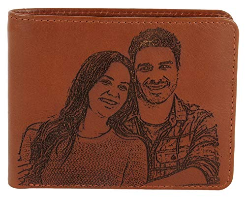 Custom Photo Wallets Men's Leather Classic Genuine Leather Bifold with RFID Protection